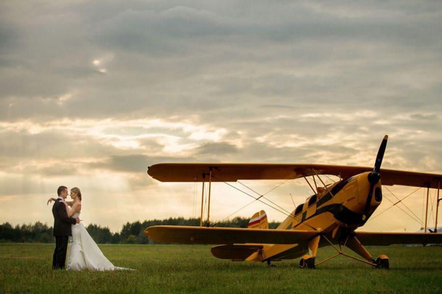Aeroklub Gliwicki - sesja ślubna